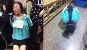 温州店主抓女贼后泄愤 让其挂牌跪地拍照