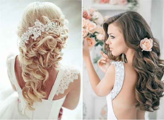 浪漫耀眼长发新娘发型 不论是今年非常流行的瀑布辫子,侧边编发,还是图片