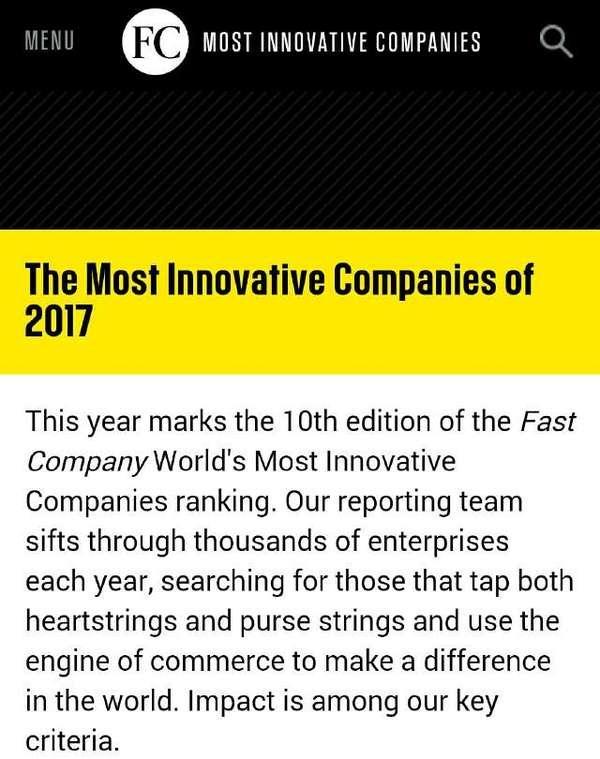 2017全球最具创新力公司榜单发布,中国公司让人大跌眼镜