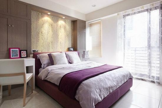 这个主人卧室在床头背景墙上通过独特花纹的壁纸去进行装修,给