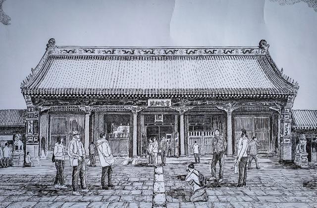 八旬老人用钢笔画沈阳 数万条线条展现故宫步行街全貌图片