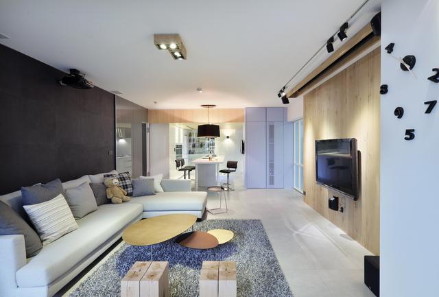 50平米现代简约一居室装修; 混搭风格客厅收纳装饰效果图;
