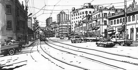 火车上的图片手绘