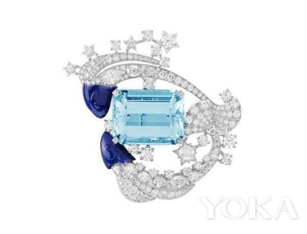 Van Cleef & Arpels双鱼座海蓝宝蓝宝石钻石胸针。