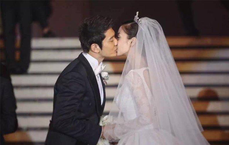 黄晓明Baby交换结婚戒指 甜蜜拥吻