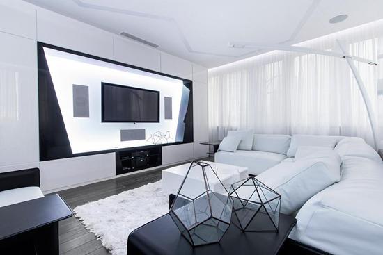 几何黑白硬朗风 俄罗斯奇幻公寓图片