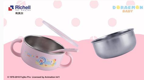 利其尔Richell儿童不锈钢餐具 一碗三用更实惠