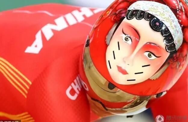"""""""京剧脸谱头盔""""扬威里约!宫金杰和钟天使用的是花木兰和穆桂英的形象.图片"""