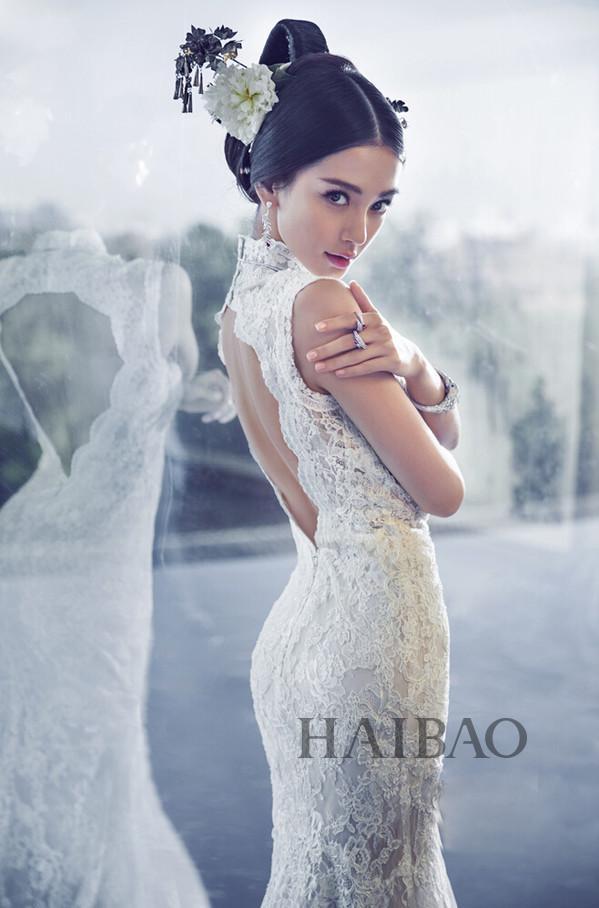 杨颖穿婚纱手绘图