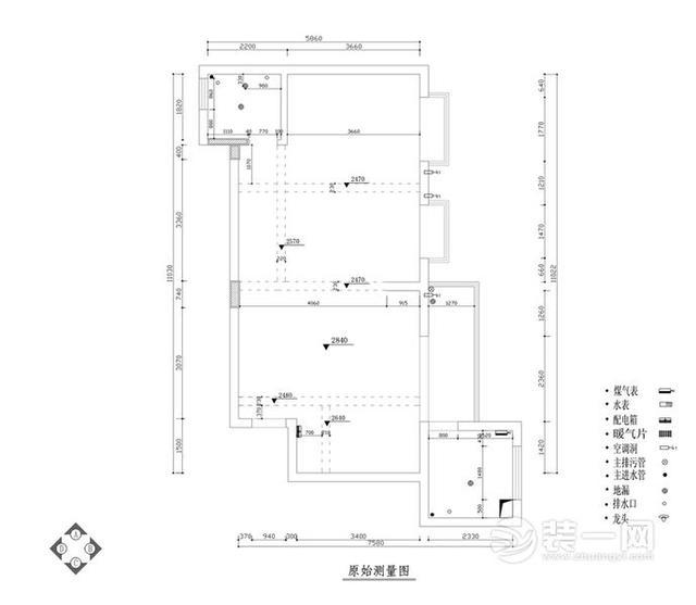 家装图纸之原始建筑测量图