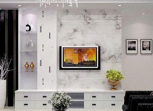 电视墙搭配tips:大理石电视背景墙,干净清爽.