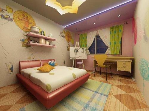 打造个性十足卧室装修设计最好是有可爱卡通图案的窗帘,小孩子又喜欢
