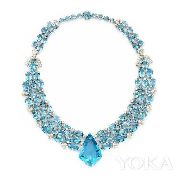 1938年卡地亚Art Deco风格海蓝宝钻石项链。