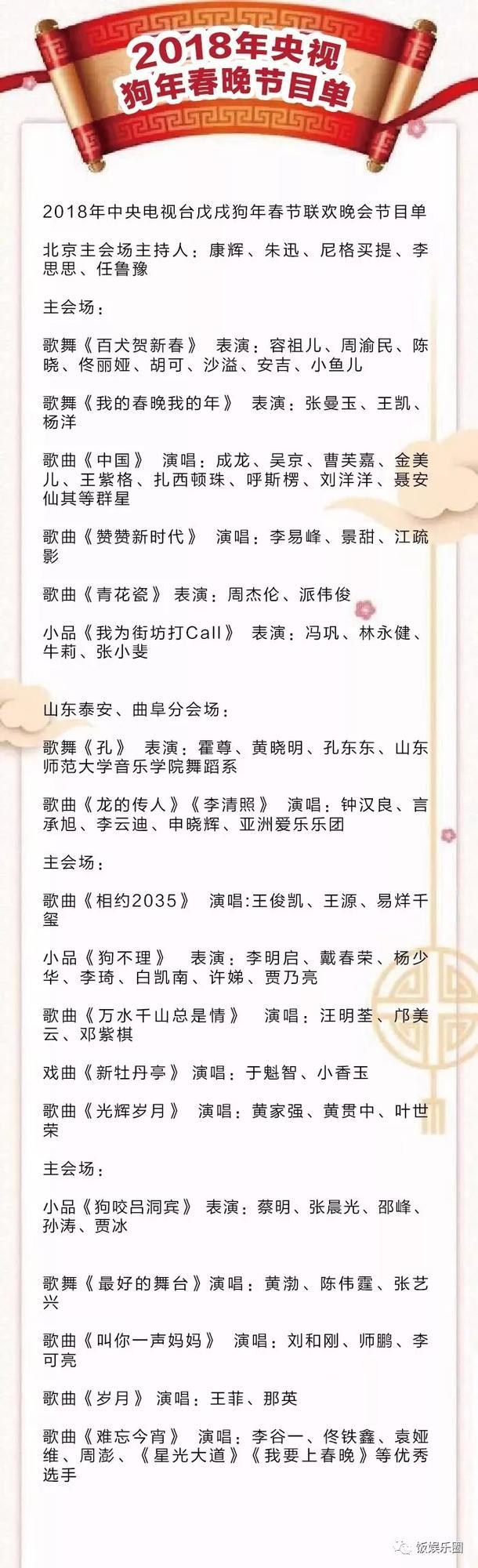 2018央视春晚节目单曝光!周杰伦杨洋张艺兴等流量王确定参加!