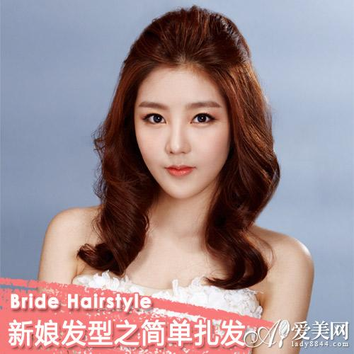 十分有公主范再搭配上简约的头纱就是很唯美的韩式新娘发型.图片
