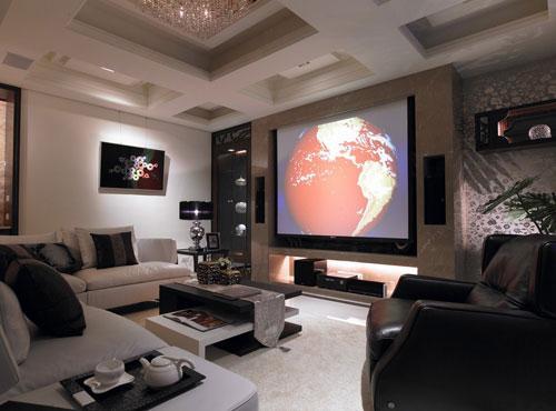 客厅投影背景墙赢投影仪的客厅装修图片6