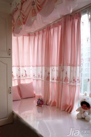 粉色的窗帘(窗帘装修效果图)白色的衣柜,公主房内怎能少了可以晒