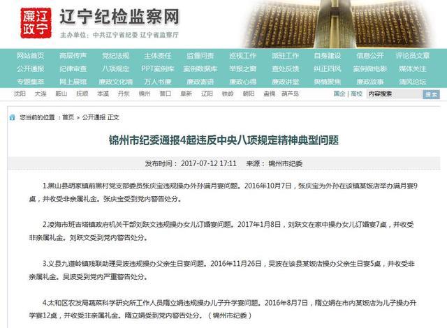 锦州通报4起违反中央八项规定精神典型问题