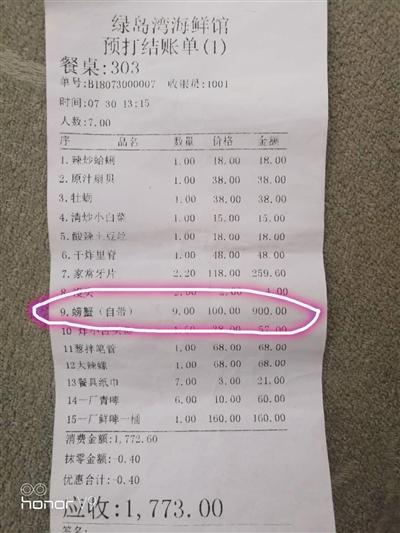 青岛一饭店因加工9斤螃蟹收900元被停业整顿