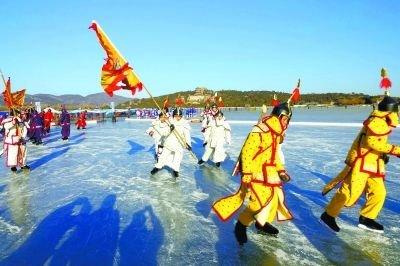 颐和园50万平方米冰场开放 首次搭建总长42米冰滑梯