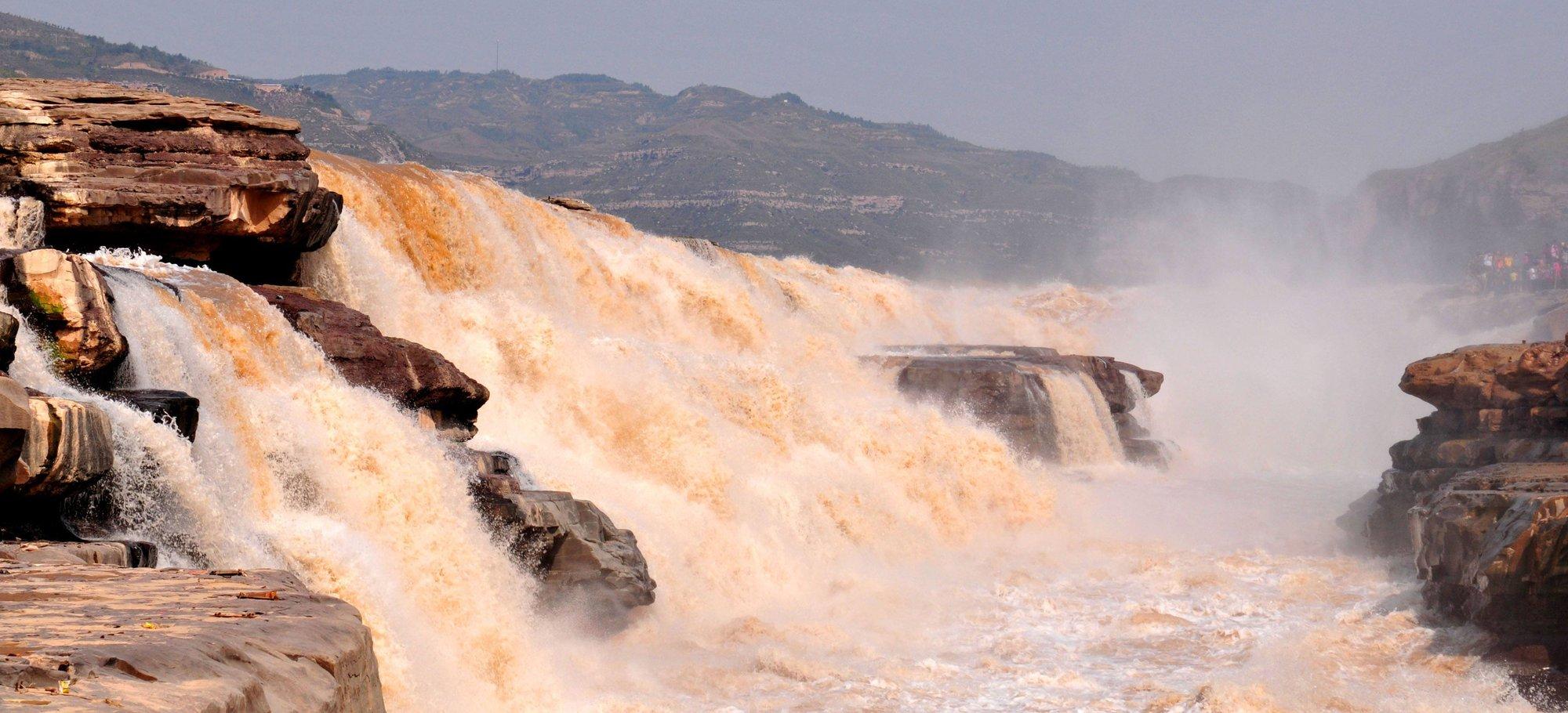 黄河上游发生洪水 山西壶口瀑布景区临时关闭
