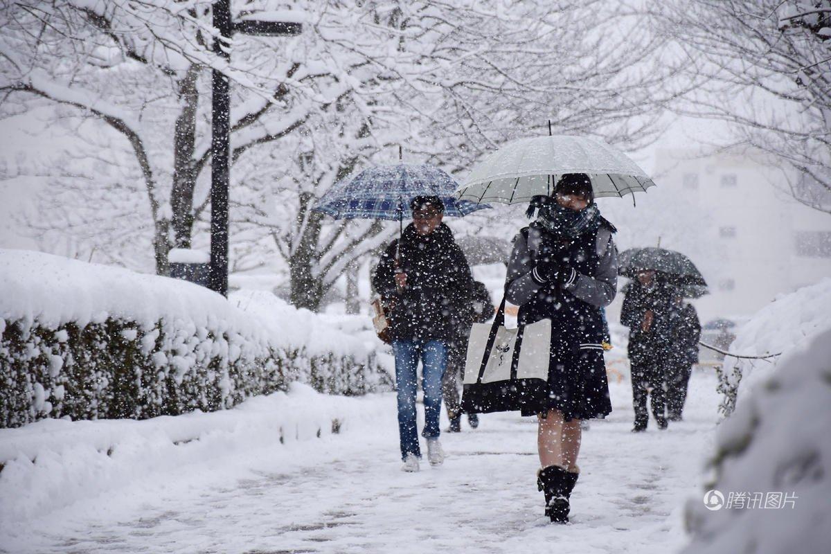 日本多地暴雪最厚超2米 女孩光腿出行