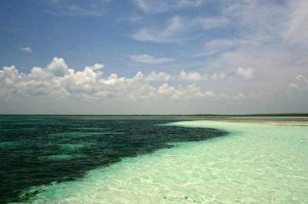 神奇海面被一分为二成深浅两色,高差50厘米互不相容