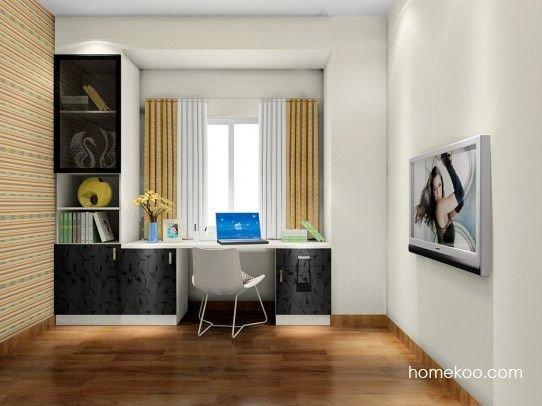 书柜门板采用黑色米兰千腾设计,飘窗改成书桌就是这么轻而易举和美观图片
