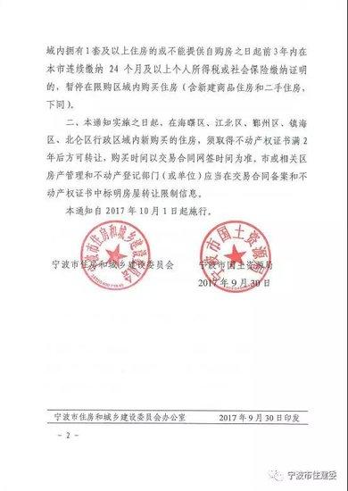 重磅!宁波10月1日起调控升级 新增限售