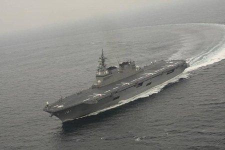 """""""日向""""号只要稍作改装,就能变身为一艘真正的航母。日本海上自卫队网站"""