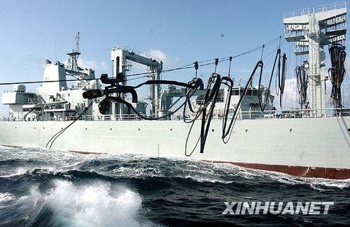组图:中国海军第三批护航编队航行中横向补给