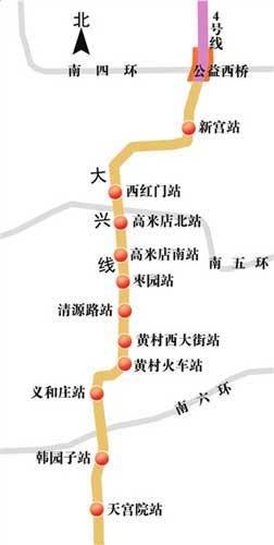 大兴线线路图-北京地铁4条在建新城线初定明年底同日开通图片