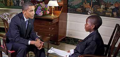 奥巴马接受11岁学生采访险被问倒(图)