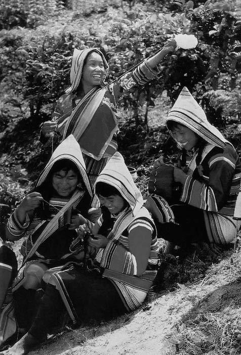 捻线,刺绣的基诺族妇女,1990年代.民族画报供图图片