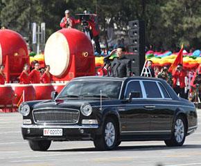 高清图:胡锦涛总书记检阅阅兵方阵