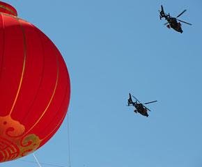 高清图:Z-9侦察直升机从北京上空飞过