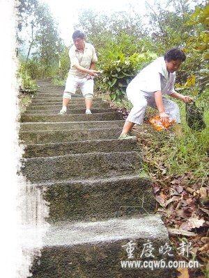 丈夫为方便病妻锻炼凿出600级爬山台阶(图)