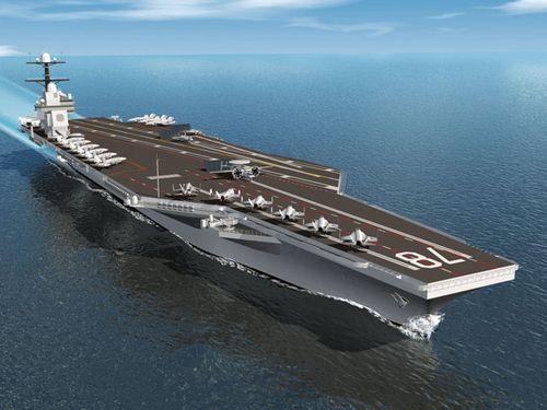美国海军最新型CVN-78福特号航母开始铺设龙骨