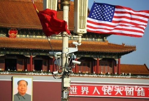 北京天安门广场中美国旗飘扬欢迎奥巴马访华。中新社发 刘震 摄