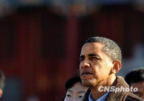 11月17日,正在中国进行国事访问的美国总统奥巴马一行参观北京故宫。中新社发 廖攀 摄