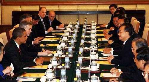 组图:温家宝会见奥巴马并举行工作午宴
