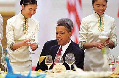 胡锦涛举行国宴欢迎奥巴马 晚宴菜单中西合璧(图)