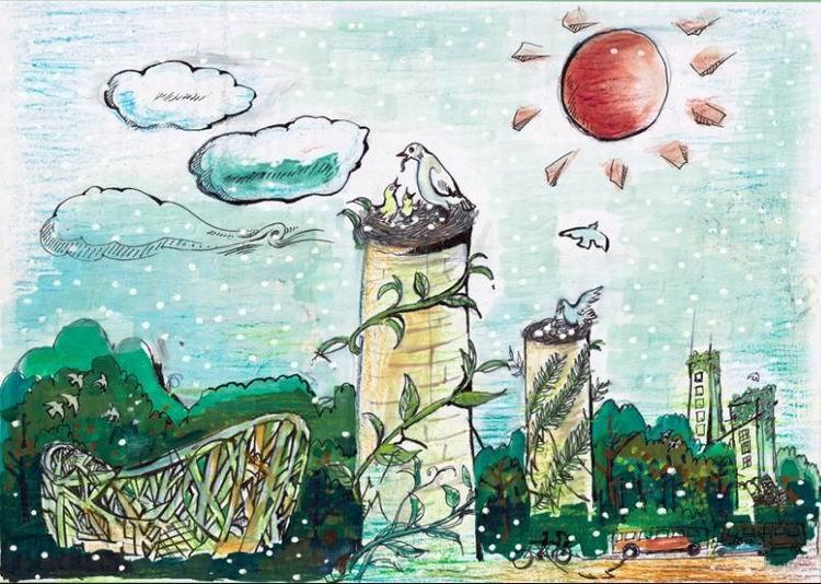 组图:中国儿童画作点亮哥本哈根之想要的未来
