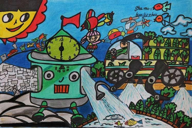绘画大赛获奖作品 孙云飞 哈尔滨 8岁 我设计了一个机器人,能 (750图片