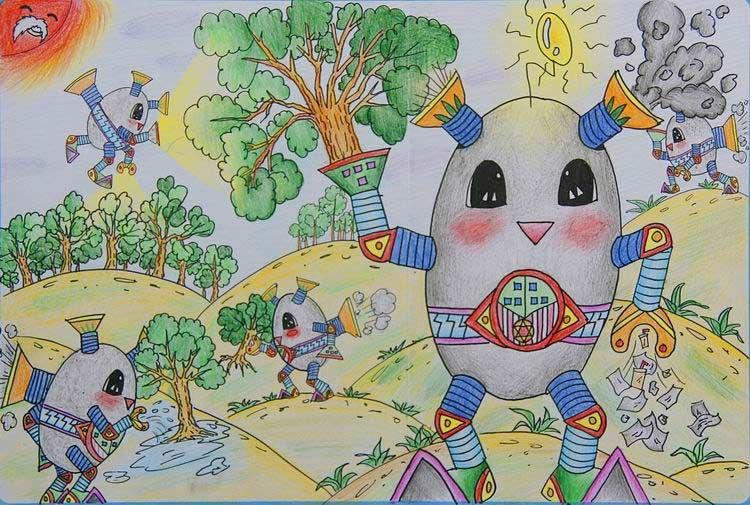 """绘画大赛获奖作品 范莹(天津) 11岁 """"现在废纸,废物越来越多,而森林却"""