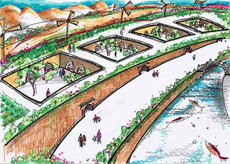 """《绿色·生态·窑居人家》 中国儿童环保教育计划暨中国儿童环保绘画大赛获奖作品 赵康妮(女 11岁 西安) 小作者画的是:""""中国西部大地,黄土高原,人类聚居的始祖——窑洞."""