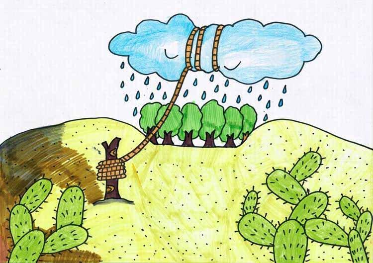 获奖儿童环保画 教师示范儿童环保画 儿童环保画简笔画