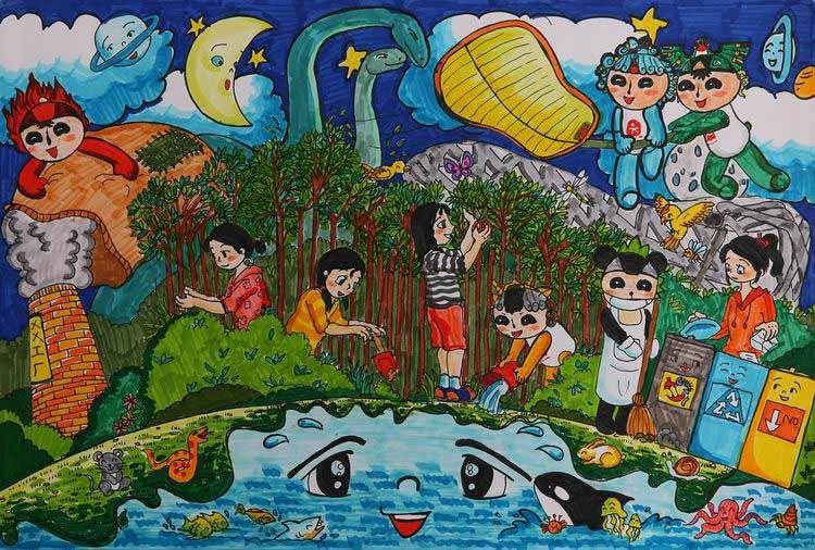 中国儿童环保教育计划暨中国儿童环保绘画大赛获奖作品 杨子艺(北京)图片