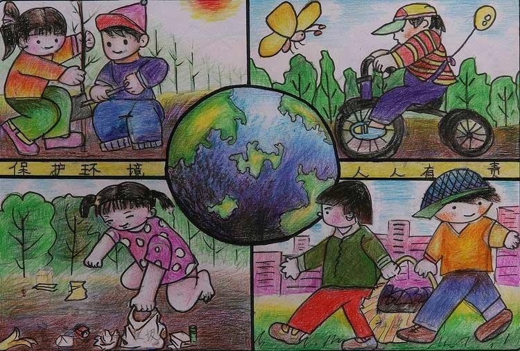 组图:中国儿童环保画之环卫工人 新闻