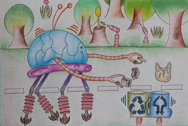 《垃圾智能分类》 中国儿童环保教育计划暨中国儿童环保绘画大赛获奖图片